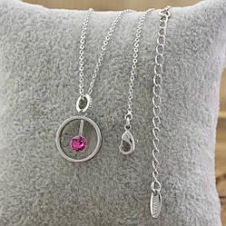 Колье Xuping с кристаллами Swarovski 87104 размеры 39+6х0.1 см кулон 17х12 мм цвет светло розовый позолота БЗ