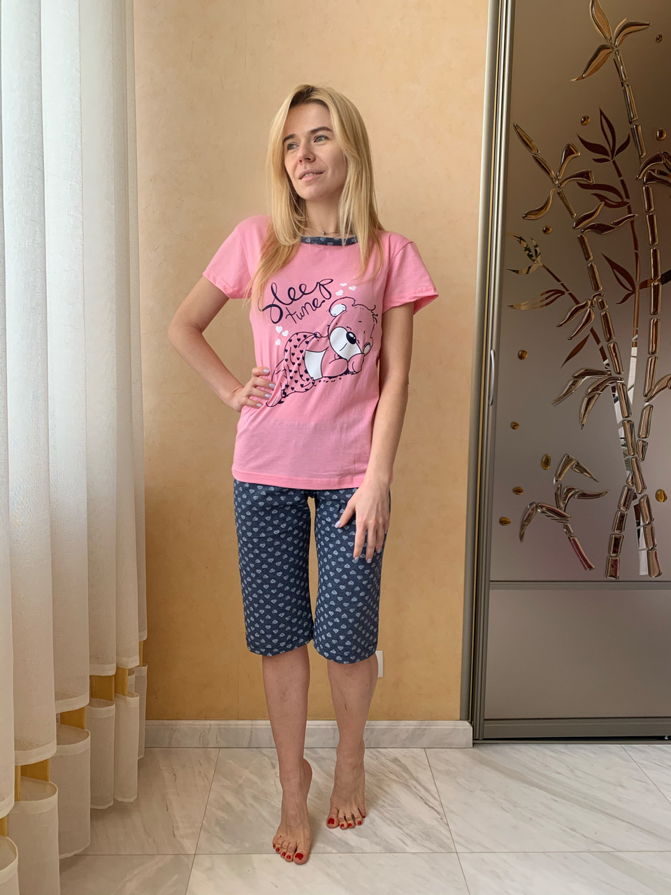 """Женская пижама """"Спящий Мишка"""" капри Asma"""