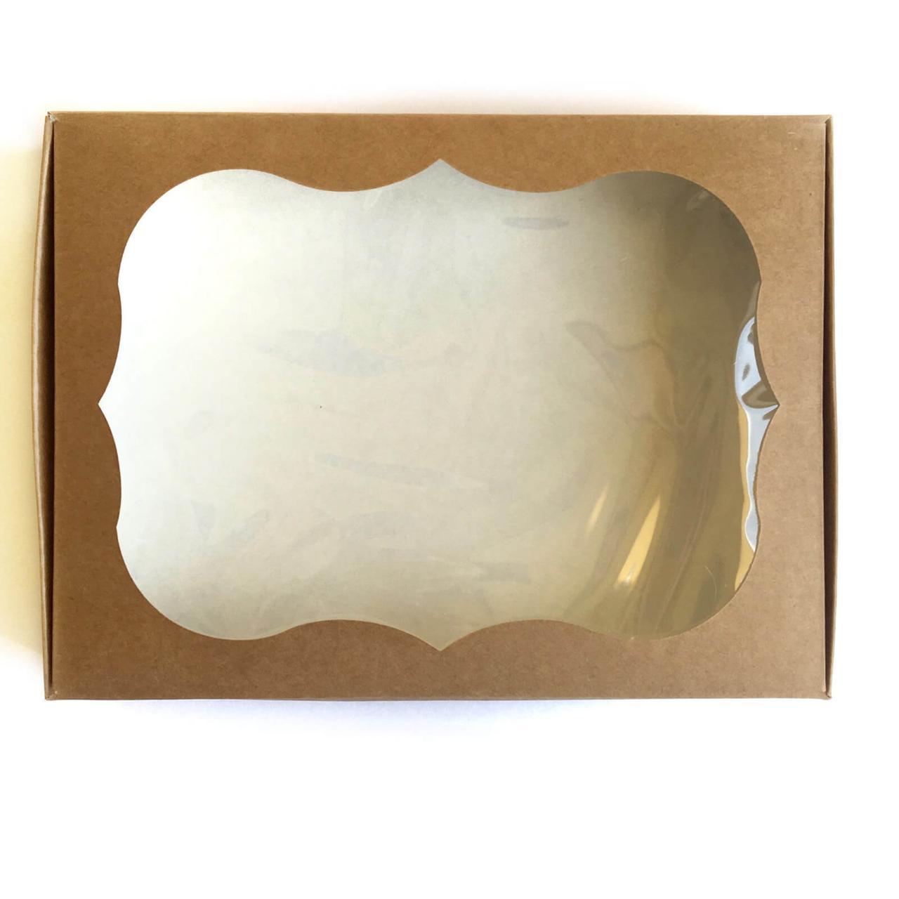 Коробка (крафт) картонная подарочная 200*150*30 мм для подарков с окошком