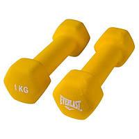 Гантели 2 шт по 1 кг для фитнеса для упражнений с виниловым покрытием EVERLAST Желтый (80042/1)