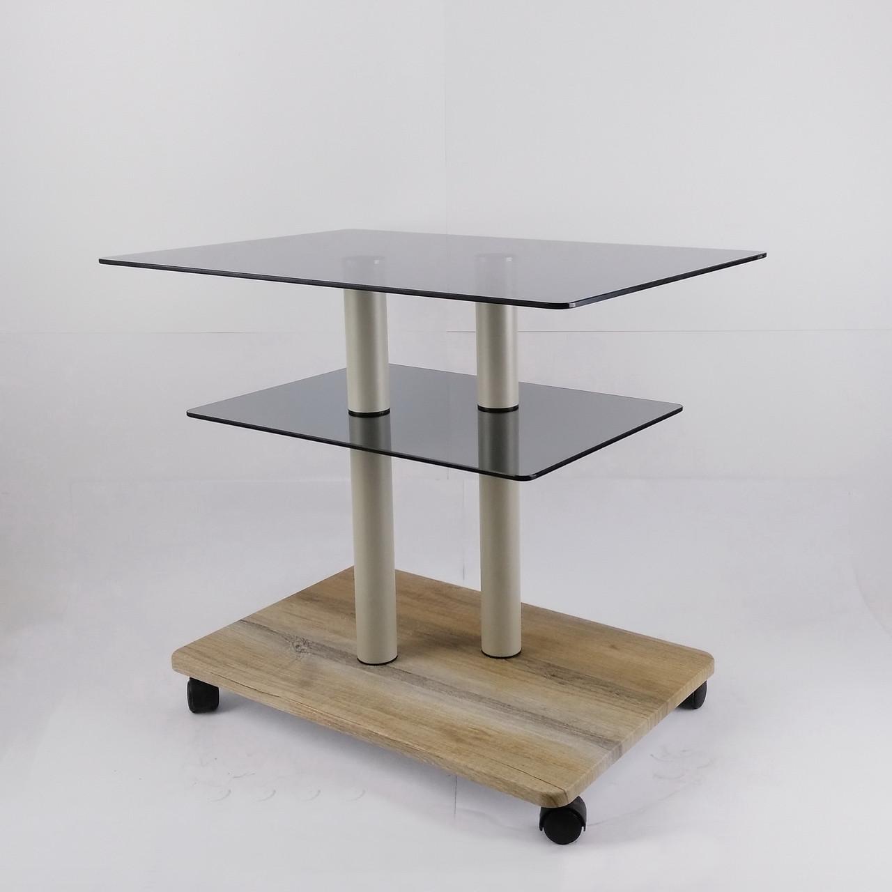 Стол журнальный стекло прямоугольный Commus Bravo Light P6 gray-sequoia-2bgs50