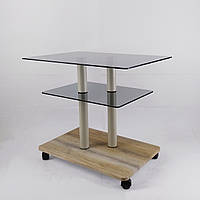 Стол журнальный стекло прямоугольный Commus Bravo Light P6 gray-sequoia-2bgs50, фото 1
