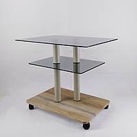 Стол журнальный стеклянный прямоугольный Commus Bravo Light P6 gray-sequoia-2bgs50