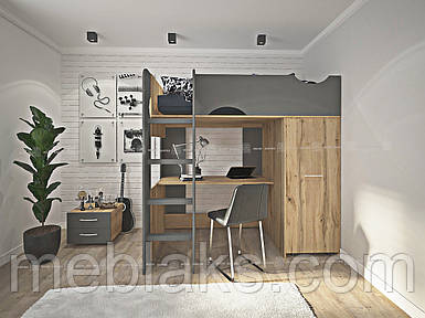 Двухъярусная кровать со столом и шкафом Мальмо