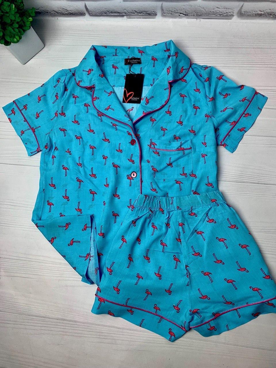 Пижама женская ФЛАМИНГО, в голубом цвете,единый размер!