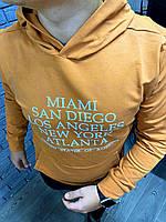 Худи мужское бархатное Miami x mustard / кофта весенняя осенняя / ТОП качества, фото 1