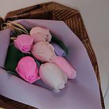 Букет з мильних квітів троянди Квіткова композиція з мила ручної роботи Мильний букет, фото 3