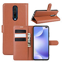 Чехол Luxury для Xiaomi Redmi K30 книжка коричневый