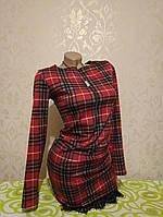 Восхитительное стильное красное платье в клетку с кружевом S 42 размер - единица с витрины, после примерки