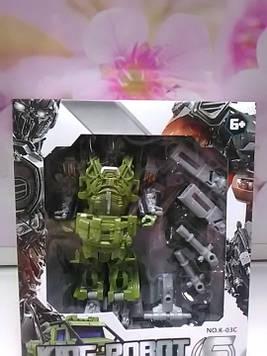 Трансформер робот зеленый пластиковый в коробке