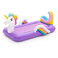 Детская надувная односпальная велюр-кровать Bestway Единорог 67713, размер 196*104*84 см, от 3-х лет