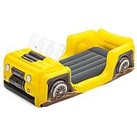 Детская надувная односпальная велюр-кровать Bestway Джип 67714, размер 160*84*58 см, от 3-х лет