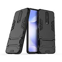 Чехол Hybrid case для Xiaomi Redmi K30 бампер с подставкой черный