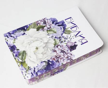 Библия среднего формата (весенние цветы, кожзам, сиреневый обрез, индексы, без замка, 14х20), фото 2