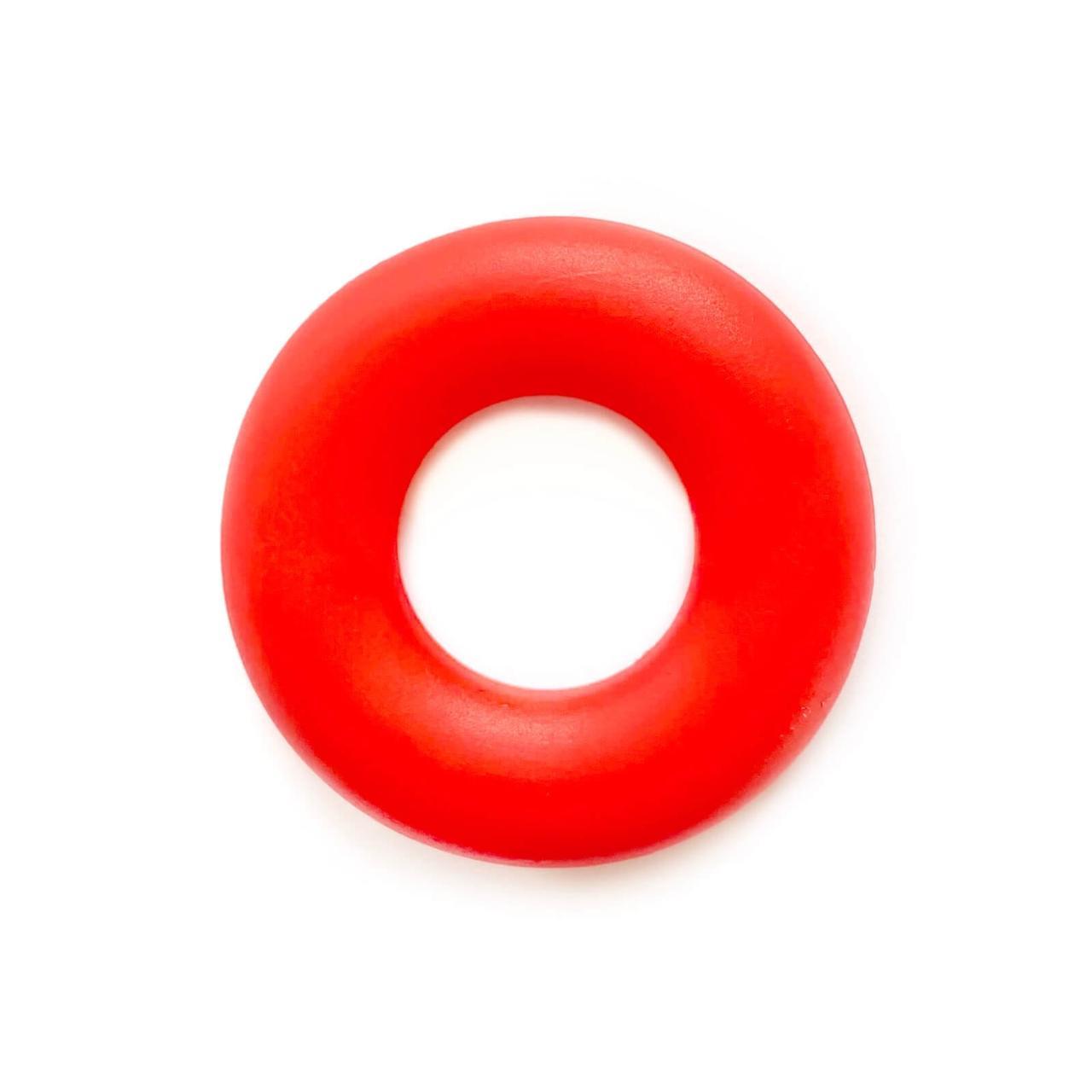Колечко бублик (красный) 43мм, бусины из пищевого силикона