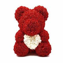 """Мишка из роз с сердцем 3D, 40см """"Bear Flowers"""" (красный) + подароч. упаковка"""