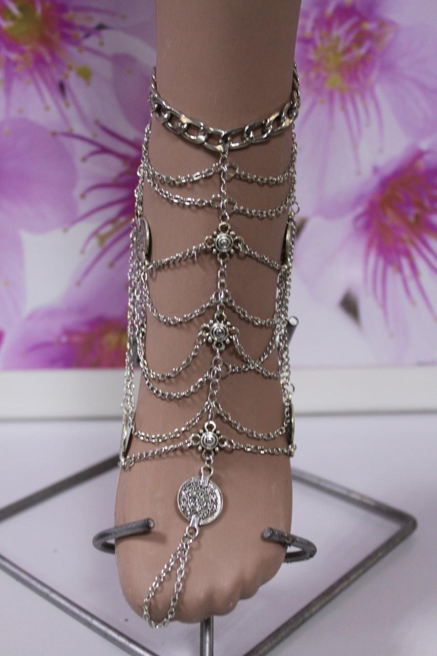 Роскошный серебристый женский браслет на ногу