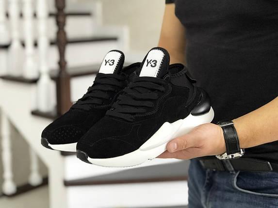 Мужские кроссовки черные, эко замша, подошва белая, фото 2