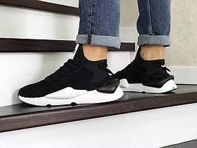 Мужские кроссовки черные, эко замша, подошва белая, фото 3