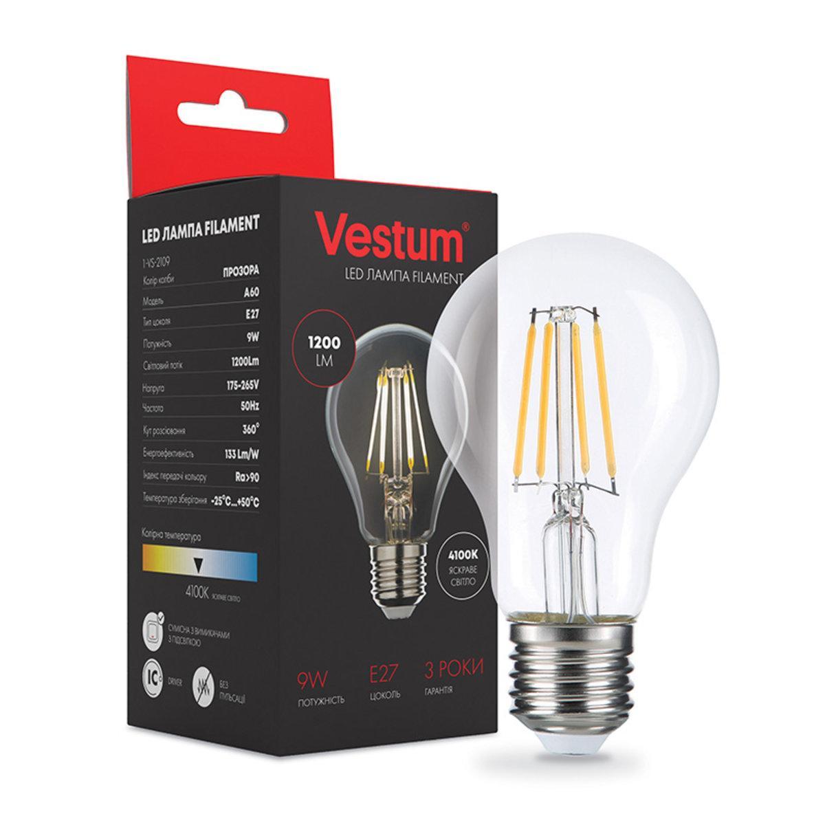 Светодиодная лампа Vestum LED филамент А60 Е27 9Вт 220V 4100К