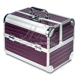 Профессиональный алюминиевый кейс для косметики, визажиста, мастера маникюра с кодовым замком, фиолетовый