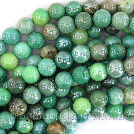 6 мм Натуральный Яблочный Хризопраз, Натуральный камень, Форма: Шар, Отверстие: 1мм, кол-во: 60-63 шт/нить, фото 2