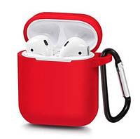 Силиконовый чехол с карабином для наушников Airpods/Аналогов Красный, фото 1