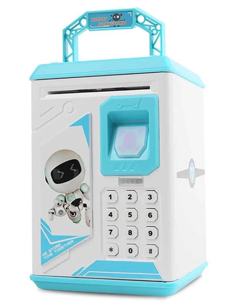 Детский сейф-копилка 906 с кодовым замком и отпечатком пальца, голубой