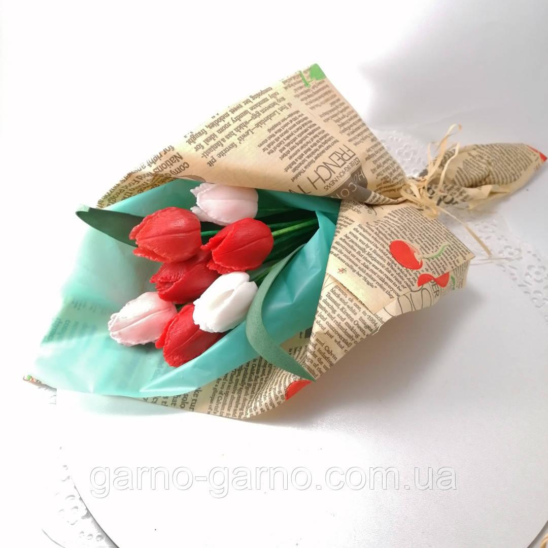 Букет з мильних квітів тюльпани Квіткова композиція з мила ручної роботи Мильний букет
