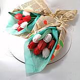 Букет з мильних квітів тюльпани Квіткова композиція з мила ручної роботи Мильний букет, фото 4