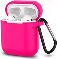 Силиконовый чехол с карабином для наушников Airpods/Аналогов Розовый, фото 1