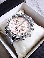 Часы -075 серебро+розовый циферблат наручные женские с камнями, фото 1