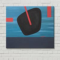 Часы на картине Декорация стен Настенный декор Голубая картина Геометрический рисунок