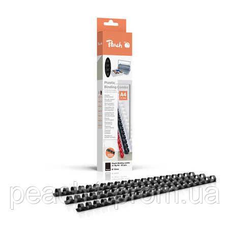 Набор пластиковых пружин для переплета/биндера Peach черный 12 мм 95 листов A4 (21 кольцо) 25 шт