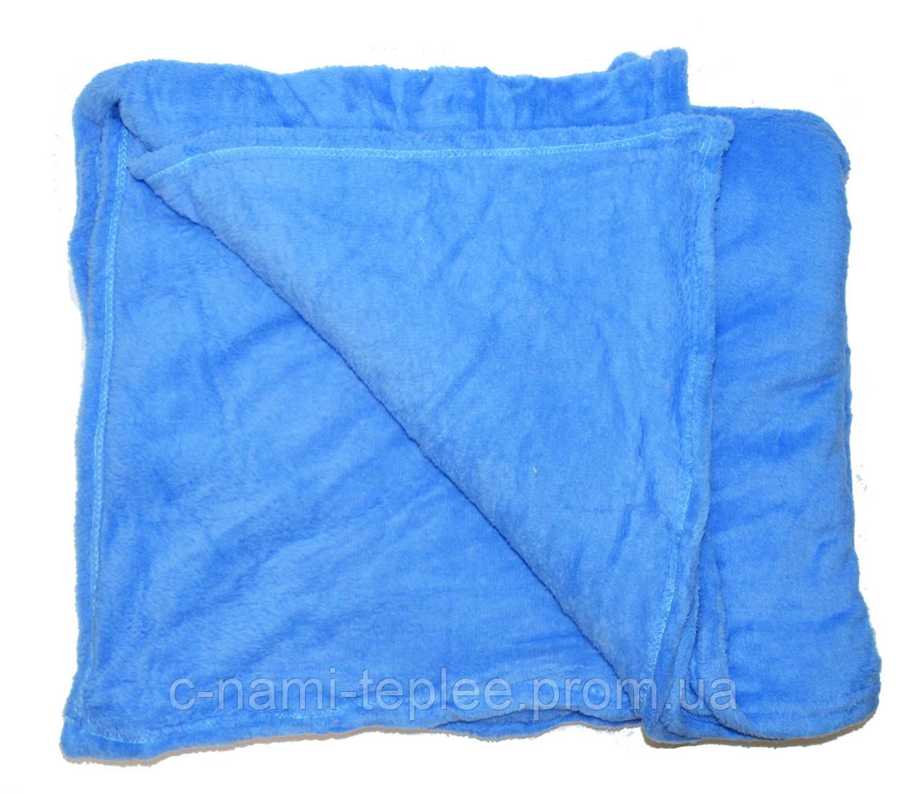 Плед микрофибра однотонный Синий 180х200 см