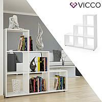 Vicco стеллаж Feacher, разделитель комнаты, 6 ячеек 105x108, цвет белый