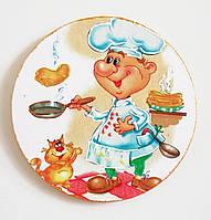 Магнит на холодильник, круглый, с поваром, подарок,  сувенир, с котами, ручная работа