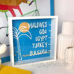 Деревянная копилка для денег Мальдивы