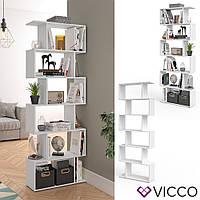 Vicco разделитель комнаты Levio, стеллаж для папок и книг, 70x192, цвет белый
