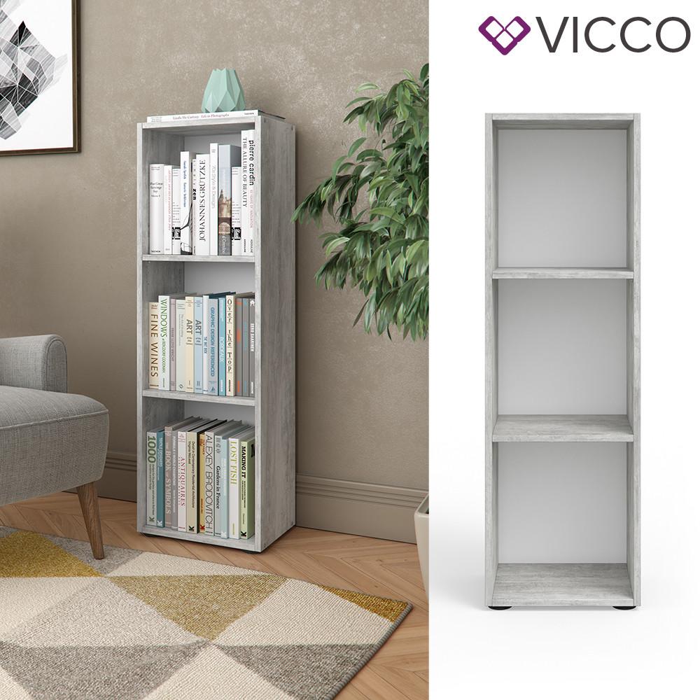 Vicco книжкова полиця, настінні полиці, шафа офісна, 35x114, колір бетон