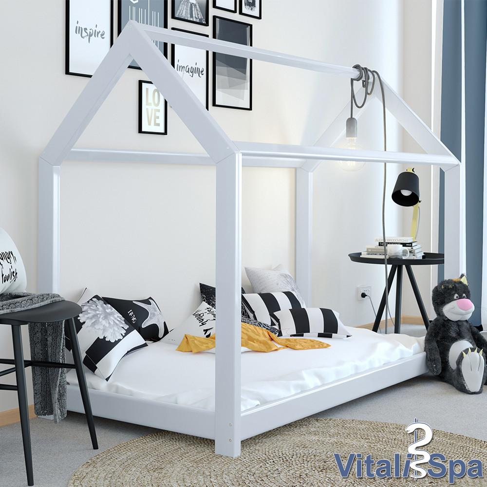 VitaliSpa детская кровать - домик Grau, 90x200 см, натуральное дерево, цвет серый