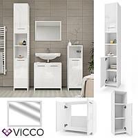 Vicco мебель для ванной, набор Kiko, 4 предмета, цвет белый глянец