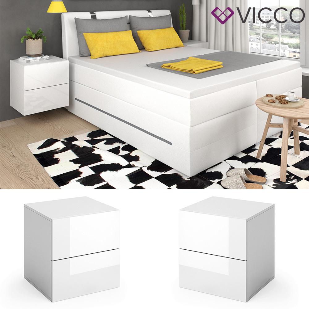 Vicco тумбочка для спальни Charles, 50x51, 2 штуки, цвет белый глянец