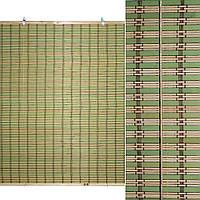 Ролеты из бамбуковой соломки debel 90х120 см полоски натуральные и зеленые (48301.001)