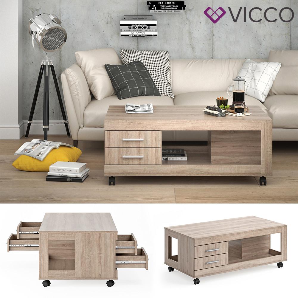 Vicco журнальный столик на колесах Bruno, 120x65, цвет сонома