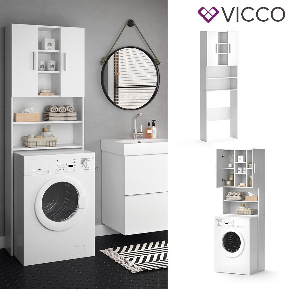 Vicco шкаф для стиральной машины Luis, пенал в ванную комнату, 190x64 см, цвет белый