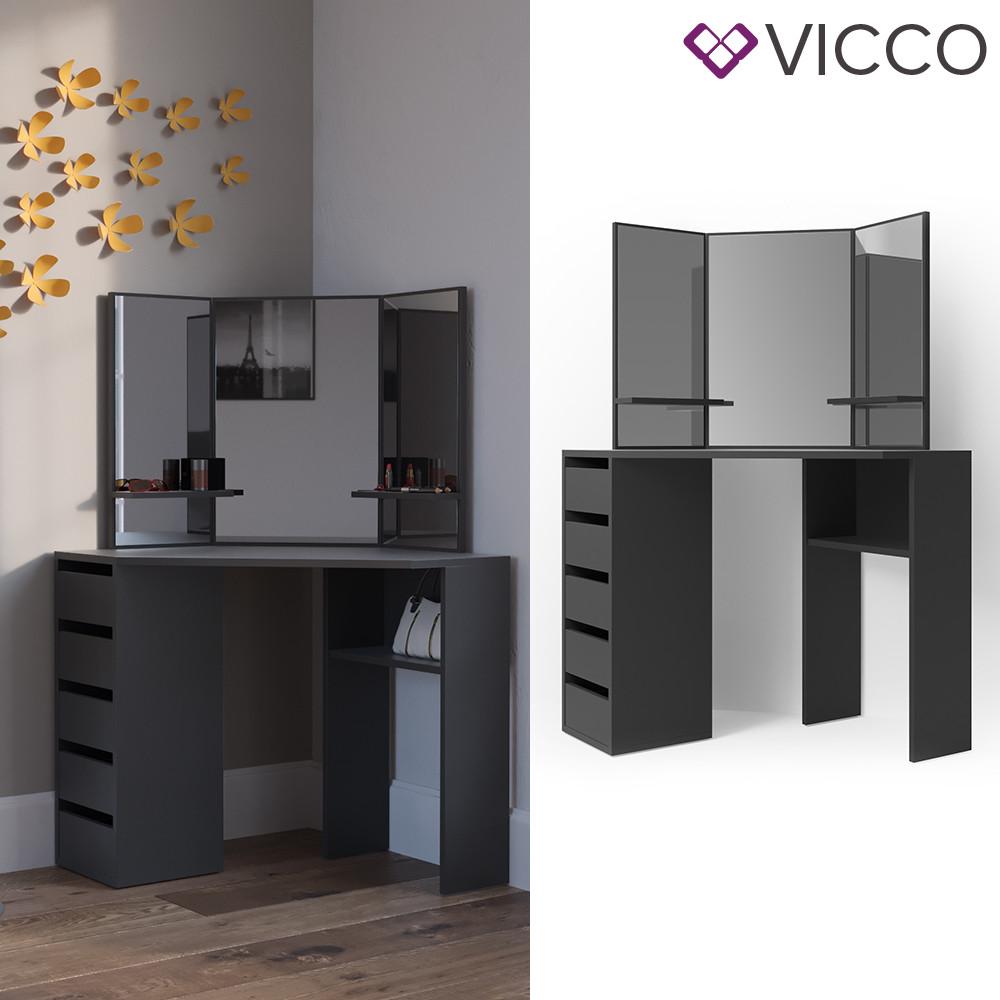 Vicco угловой туалетный столик Arielle, 110x142, цвет черный