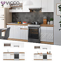 Vicco кухня Raul, кухонный блок, комплект мебели на кухню, 240 см, цвет белый, сонома