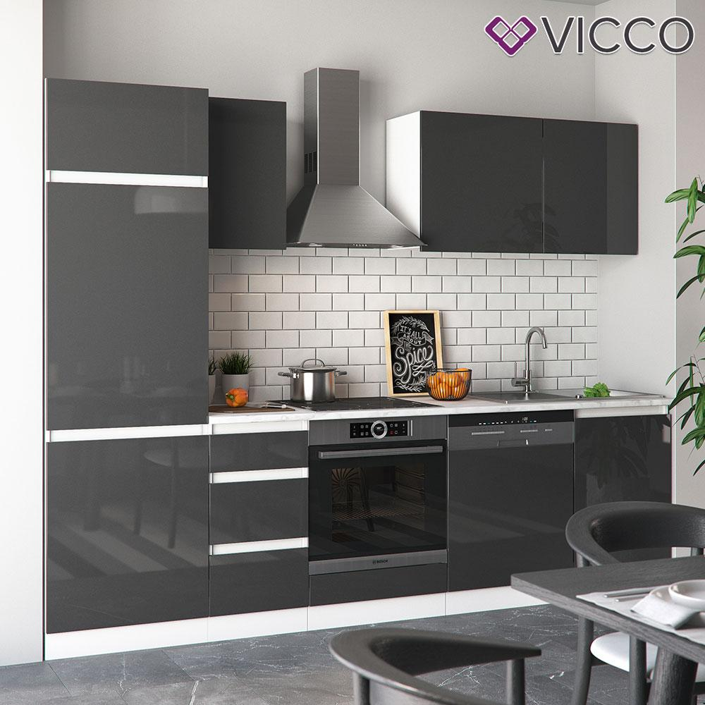 Vicco кухня Optima, кухонний блок, комплект меблів на кухню 270 см, колір антрацит глянець