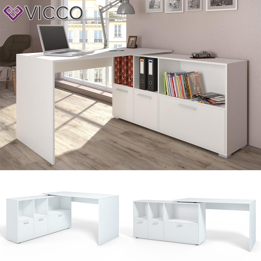 Vicco кутовий стіл Flex, комп'ютерний стіл з полицями, 136x76 колір білий